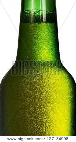 Bottle of beer with condensation isolated on white background