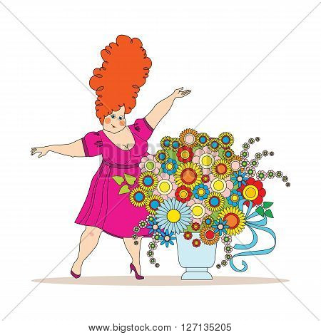 illustration for Mothers Day. woman in a crimson dress with a large bouquet of flowers. vector illustration in cartoon style