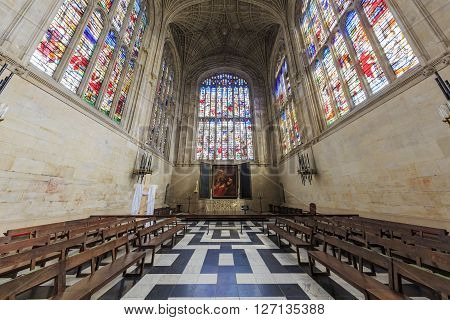 Cambridge APR 16: The interior of church of King's College on APR 16 2016 at Cambridge