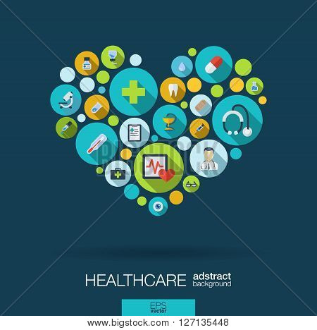 Color circles with flat icons in a heart shape for medicine, medical, health, cross, healthcare concepts. Abstract background with connected objects in integrated group of elements. Vector illustration.