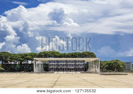 Brasilia, Brazil - November 18, 2015: Federal Supreme Court building in Brasilia, capital of Brazil.