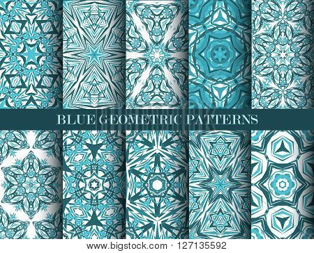 Kaleidoscope Abstract Flower Patterns set. Blue geometric background. Fashionable graphic print. Decorative star flowers. Blue color psychedelic design. Intricate geometric ornament. Vector background