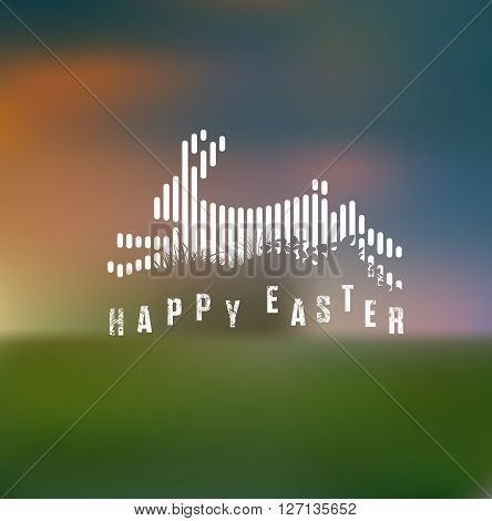 Happy Easter. Running / Jumping Bunny / Rabbit in White Lines Style on Blurred Background
