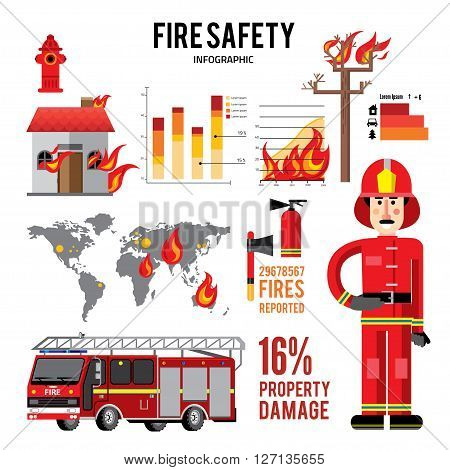 Firefighter and icons . Fire truck on fire infographic. Flat style vector illustration