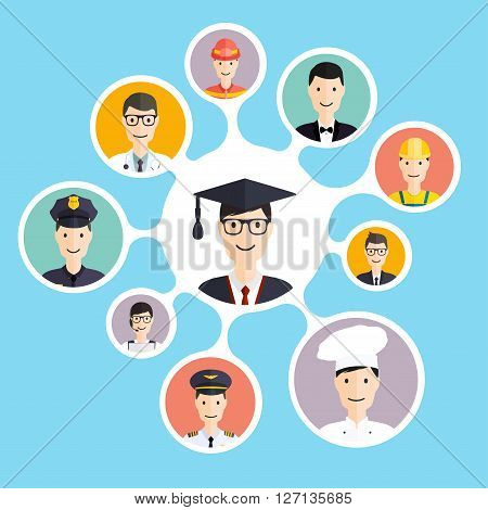 Graduation Male Student Make Career Choices: Businessman, Doctor, Artist, Designer, Cook, Police, Te