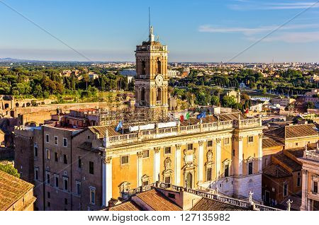 View of Palazzo Senatorio on the Capitoline Hill in Rome, Italy