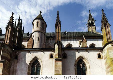 Majestic Gothic Cathedral In Little City Niederhaslach