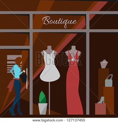 Clothing store. Man and woman clothes shop and boutique. Shopping, fashion, bags, accessories. Flat style vector illustration. Modern stylish outlet. Woman silhouette in the show window. Vector