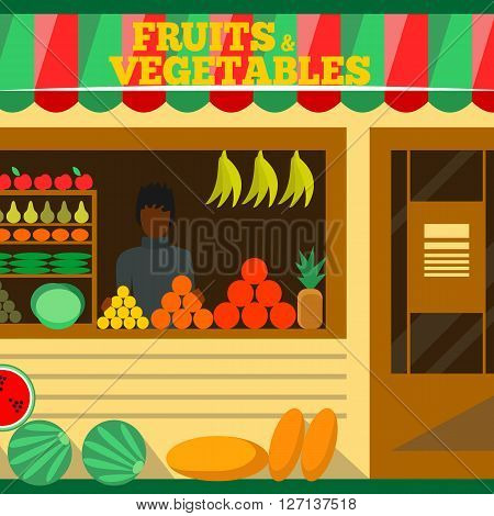 Fruits and vegetables shop. Man silhouette in a store window. Green grocery stall. Food mall vector illustration. Banana, apple, orange, lime, pumpkin. Promotion of healthy eating concept.