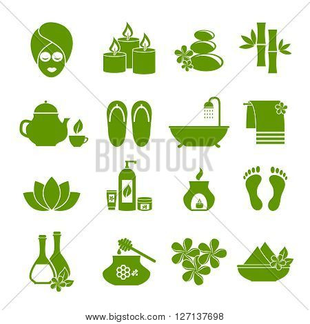 icons of Spa. Symbol of rest, relaxation, care about health, a healthy lifestyle for women and men. Set of green vector icons on  white background