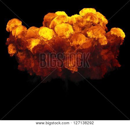 3D illustration of explosion fire cloud on black background