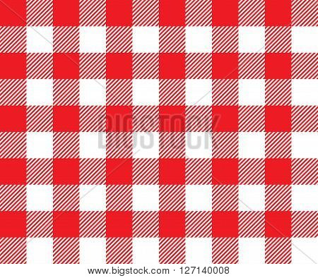 Red tablecloth background seamless pattern. Vector illustration of traditional gingham dining cloth with fabric texture. Checkered picnic cooking tablecloth.