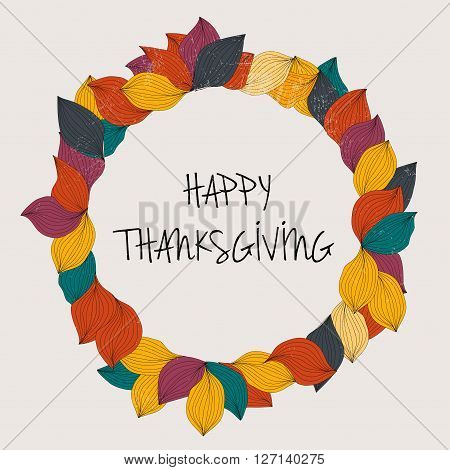Happy Thanksgiving Day. Thanksgiving Day Card Template. Hanksgiving Day Leaves Crown.