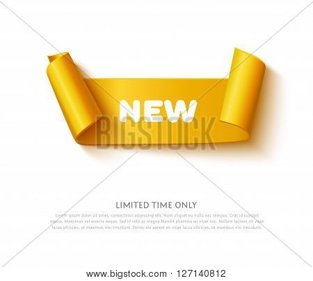 Gold curved paper ribbon banner with paper rolls and inscription NEW isolated on white background. Realistic vector gold yellow paper ribbon with space for message