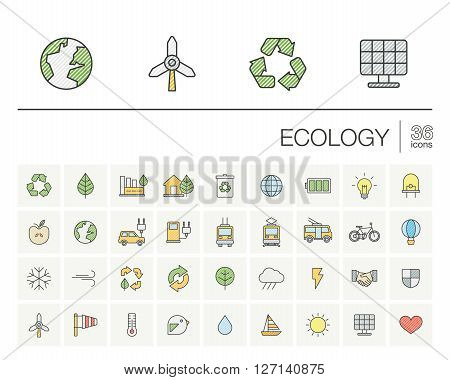 Vector thin line color icons set and graphic design elements. Illustration with ecology outline symbols. Eco, bio, environmental, wind power, recycle linear pictogram