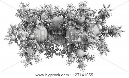 3D illustration of microbiology molecule object with numerous bubbles