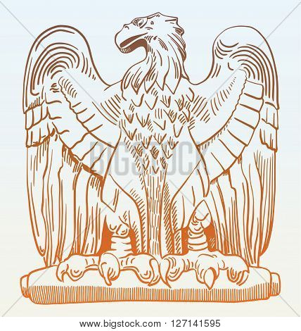 sketch digital drawing of heraldic sculpture eagle in Rome, Italy, vector illustration