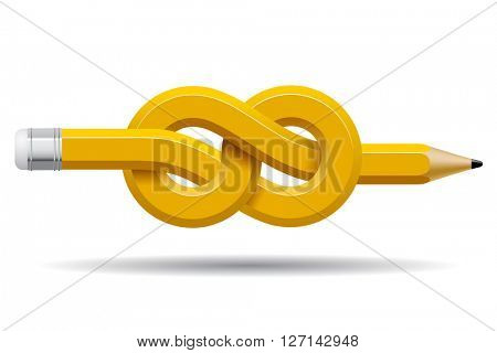 Pencil distorted and tied in a knot isolated on white. Business and Education symbol and icons. Contain the Clipping Path. 3D illustration