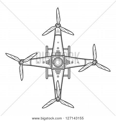 Vector Outline Quadcopter Drone Illustration.