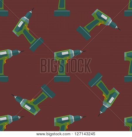 Vector Electric Screwdriver Seamless Pattern.
