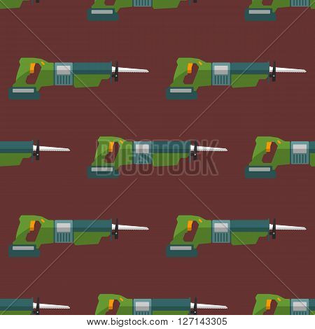 Vector Reciprocating Saw Seamless Pattern.