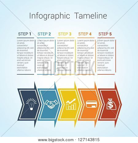 Template Timeline Infographic colored horizontal arrows numbered for five position can be used for workflow banner diagram web design area chart