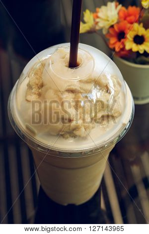 Iced Frappe Coffee In Coffee Shop Cafe