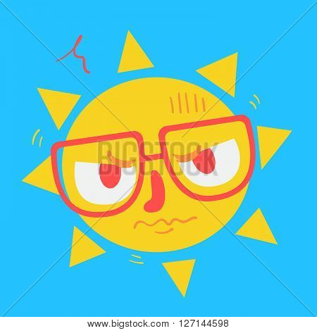 Cute Geek Sun Looking Angry