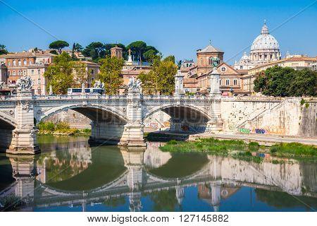 Rome Cityscape With Ponte Vittorio Emanuele