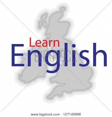 Simple map of Great Britain with sample text Learn English