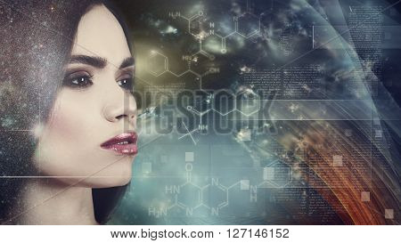 Evolution female portrait against abstract science backgrounds
