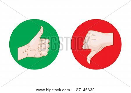 thumb up thumb down round icons vector illustration