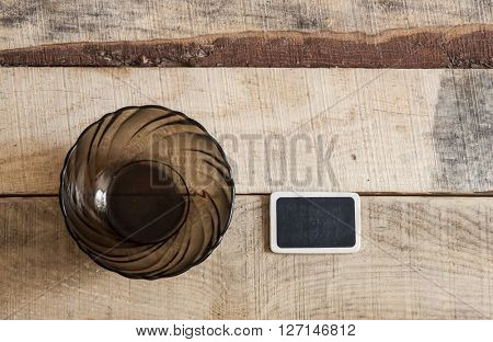 empty glass mug on wooden background