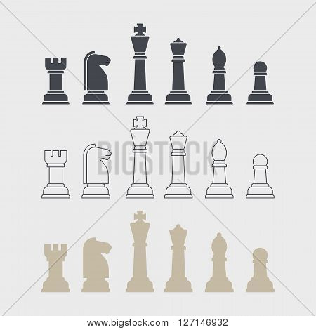 Set of flat design outline chess vector silhouettes. Collection of the king, queen, bishop, knight, rook, and pawn