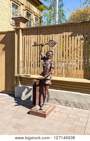 SAMARA RUSSIA - APRIL 24 2016: Bronze monument fairy-tale characters - Buratino near the museum Aleksei Tolstoi in sunny day