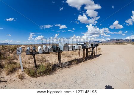 Golden Valley, Arizona - September 6: Views Of Mail Boxes Along The Highway 93 On September 6, 2015.