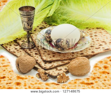 Traditional food and drink for celebration of Jewish Passover