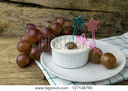 grape yoghurt on the wooden table, fresh, fruit, yogurt, yoghurt,
