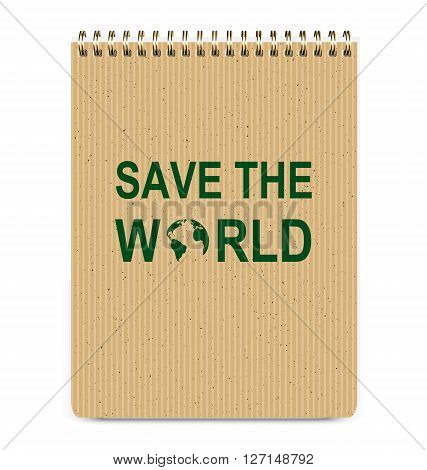Realistic Recycle Brown Cover Notepad and Save The World Icon