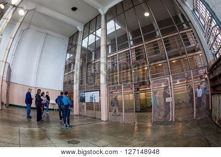 SAN FRANCISCO, USA - SEPTEMBER 17, 2015: Interior views of the Alcatraz Island in San Francisco on September 17, 2015. The Alcatraz island was a federal prison from 1933 until 1963.