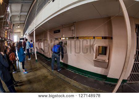 SAN FRANCISCO, USA - SEPTEMBER 17, 2015: Interior views of the Alcatraz Island in San Francisco on September 17 2015. The Alcatraz island was a federal prison from 1933 until 1963.