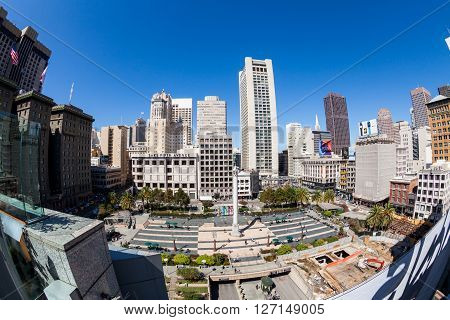 SAN FRANCISCO, USA - SEPTEMBER 17, 2015: View of the Union Square in direction north in San Francisco on September 17 2015. This view provides a nice look to the San Francisco downtown center area.
