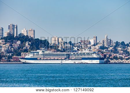 SAN FRANCISCO, SEPTEMBER 14, 2015: View from Treasure Island to downtown San Francisco and a docked passenger cruise ship.