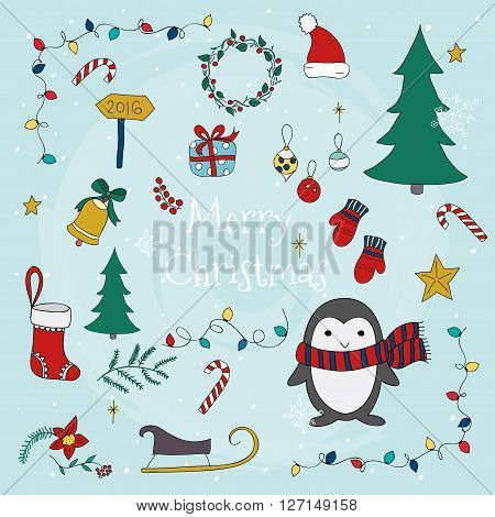 Merry Christmas With Set Of Christmas Lettering And Graphic Elements. Vector Illustrations For Greet