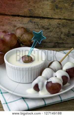 grape yoghurt on the wooden table, fresh, fruit, yogurt,