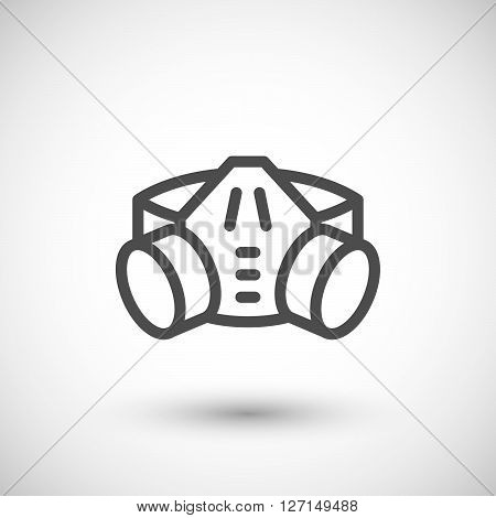 Respirator with filter cartridges line icon isolated on grey. Vector illustration