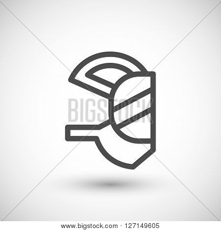 Respirator mask line icon isolated on grey. Vector illustration