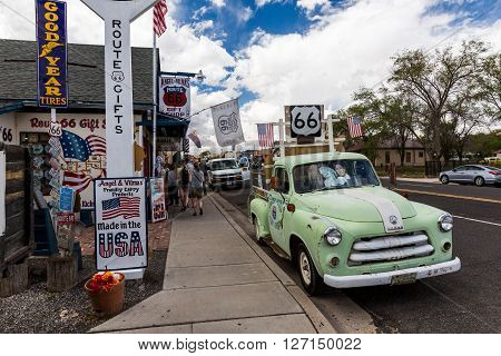 SELIGMAN, ARIZONA - SEPTEMBER 6, 2015: Views of the route 66 decorations in the city of Seligman in Arizona on September 6 2015. Seligman is a small city along the historic route 66 now it is Freeway 40.