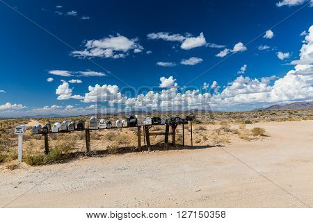 GOLDEN VALLEY, ARIZONA - SEPTEMBER 6, 2015: Views of mail boxes along the highway 93 on September 6 2015. Mail boxes are popular photographic motives by tourist from foreign countries.