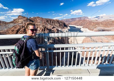 Girl in front of Hoover Dam and Lake Mead on September 6, 2015